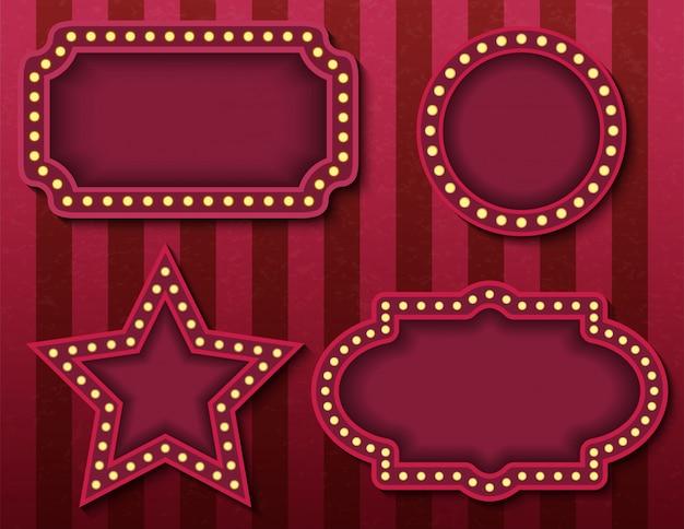 Цирковые вывески. фондовый ярко светящиеся ретро кино неоновые вывески баннеры. цирк стиль вечернее шоу шаблоны баннеров. фоновые изображения постеров