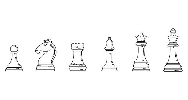 チェスの駒の黒いアウトラインフラットシルエット。ゲームコンセプトラインアートストックイメージセット。