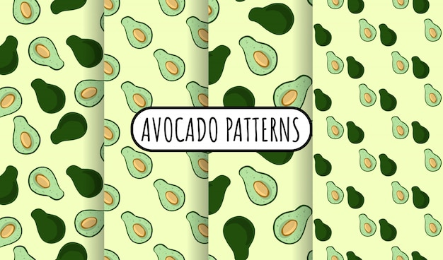Набор авокадо каракулей бесшовные шаблоны. весь авокадо и отрезанный наполовину овощ на зеленой предпосылке. коллекция стоковой веганской текстуры обоев