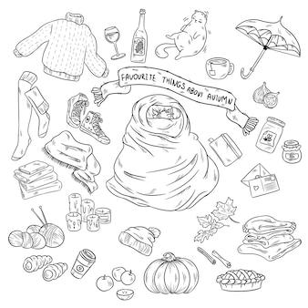 スケッチのベクトル手描きの漫画のセット