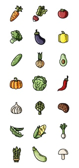 野菜フラットカラフルなアイコン。ウェブのためのアイコンのセット