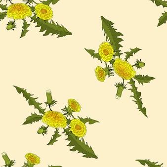 タンポポの花のシームレスなパターン