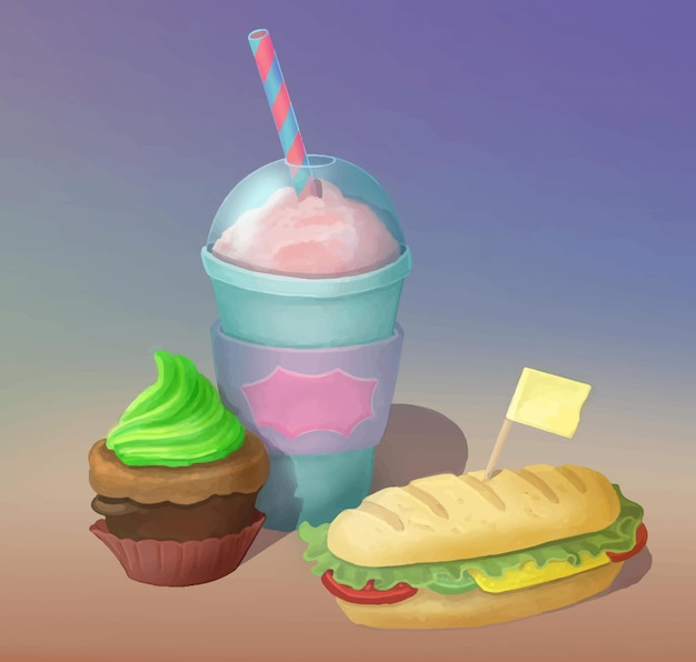 ミルクシェイク、サンドイッチ、カップケーキの手はファーストフードの食べ物を描いた。フードポスター