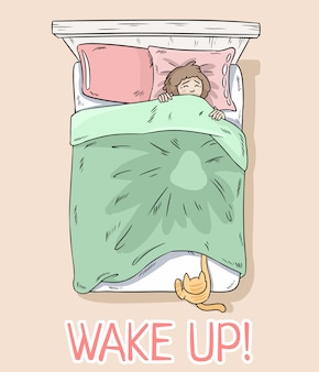 Проснись открытка. кошка ловит ноги под одеялом. девочка просыпается из-за своего кота.