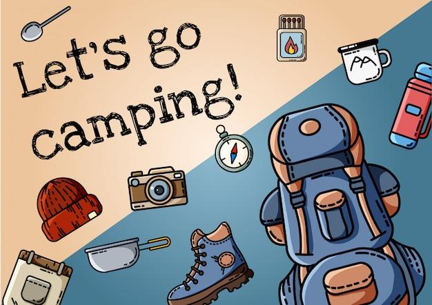キャンプポスターに行きましょう。フラットスタイルのアイコンアレンジャーのセットは、バナーに。ハイキングの意欲