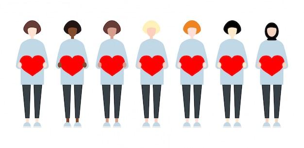 心を持って多様な人種ベクトル女性のセットです。バレンタインデーの姉妹キュートでシンプルなフラットスタイル