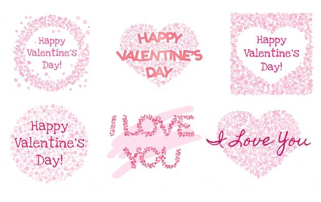 バレンタインデーのためのかわいいピンクのポストカードのセットです。円の形、ハート形の飾り