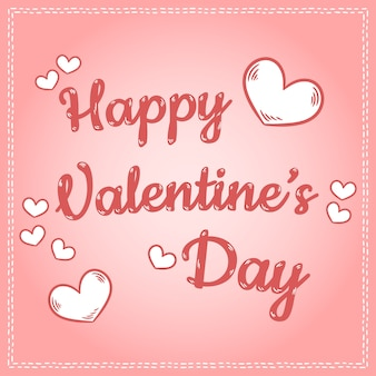 幸せなバレンタインデー碑文かわいいレトロ漫画カラフルなポストカード、ハート