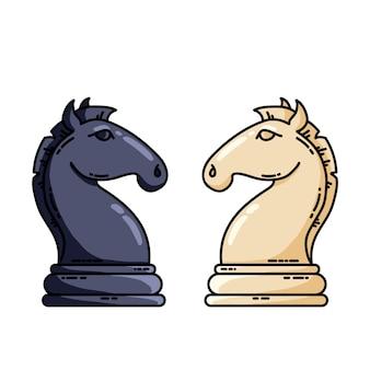 黒と白のチェスの騎士ベクトルフラットベクトル画像