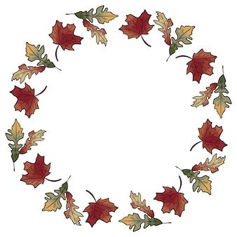 秋の秋の葉の花輪飾り