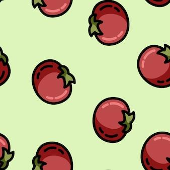 かわいい漫画のフラットスタイルのトマトのシームレスパターン