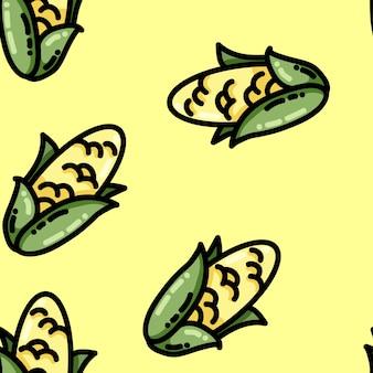 かわいい漫画のフラットスタイルのトウモロコシのシームレスパターン