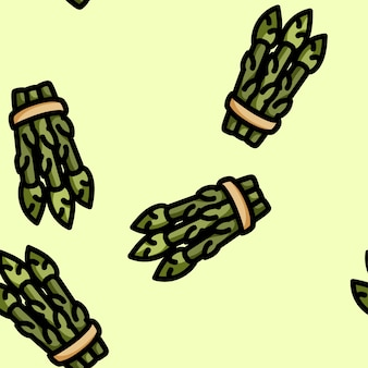 かわいい漫画のフラットスタイルのアスパラガスのシームレスパターン