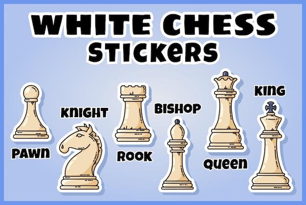 白いチェスの駒のステッカーコレクション。チェスのラベルのセット
