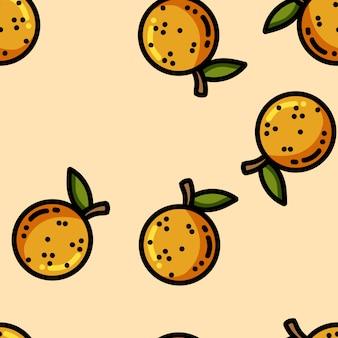 Симпатичные карикатуры плоский стиль апельсины бесшовный фон