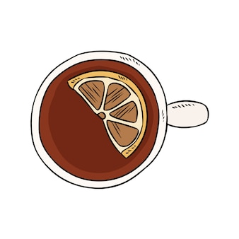レモンと紅茶のカップ