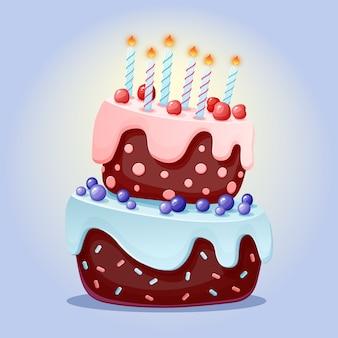 キャンドルとかわいい漫画お祝いケーキ。チェリーとブルーベリーのチョコレートビスケット。パーティー、誕生日に。孤立した要素