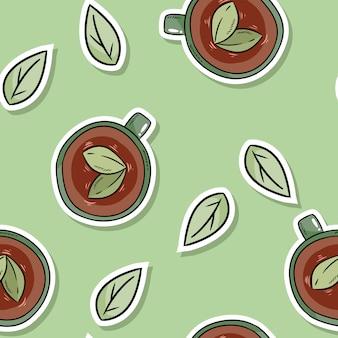ハーブティーと葉のエコフレンドリーなシームレスパターン。グリーンリビングに行く