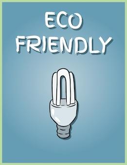 環境にやさしいポスター。経済的な電球の画像。電球の図を保存