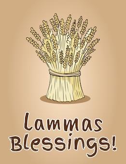 ハッピーラマの祝福。小麦の束干し草の束