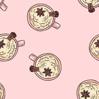 シナモンとホイップクリームのかわいい漫画のシームレスパターンとおいしいコーヒーを飲む。