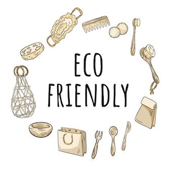 プラスチック製品のない環境に優しい花輪。生態学的および無駄のない飾りのコンセプト。グリーンに行く