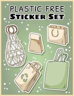 プラスチックフリーステッカーセット。生態学的および無駄のないラベルの収集。グリーンに行く