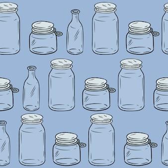 ガラス瓶のシームレスなパターン。