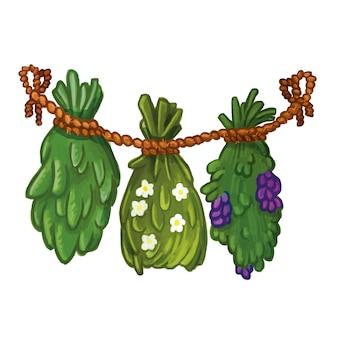 手の描かれた乾燥ハーブと植物ガーランドイラスト。自然医学の画像
