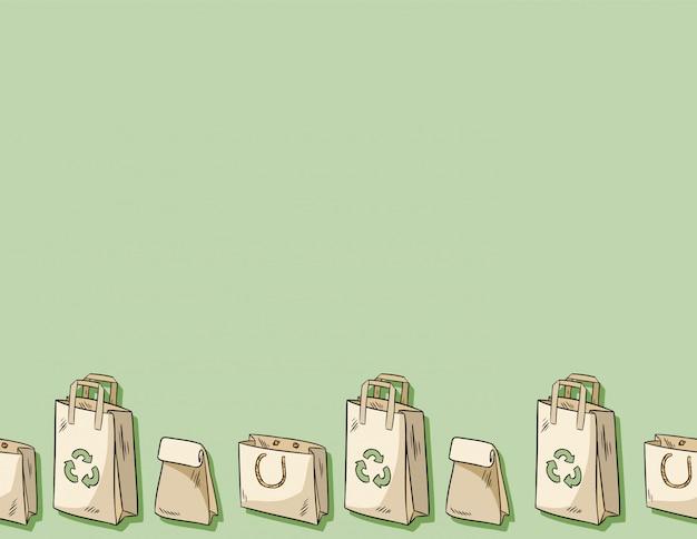 ビニール袋の使用量が少ないシームレスパターン。