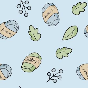天然素材の石鹸とシャンプーのシームレスパターン