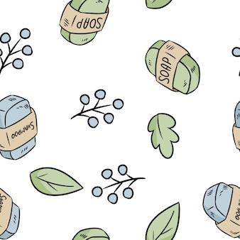 天然素材の石鹸とシャンプーのシームレスパターン。生態学的およびゼロ廃棄物温室とプラスチックフリー