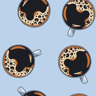 一杯のコーヒー手描きのかわいい漫画マグカップシームレスパターン