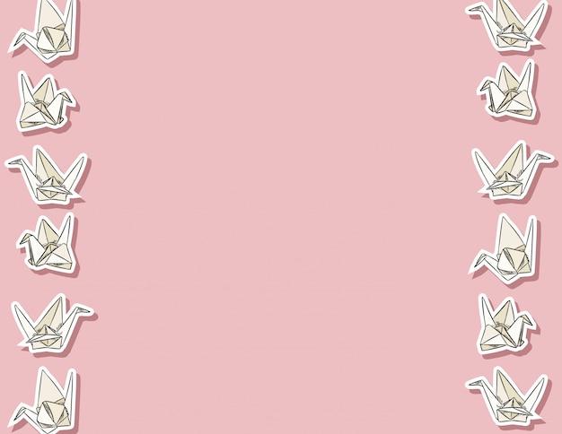 折り紙白鳥手の描かれたシームレスパターン