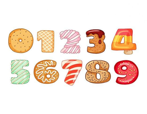 おいしい数字のシンボルのセット
