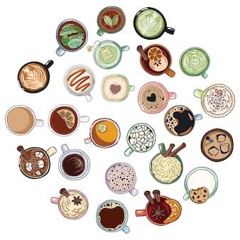かわいいおいしい飲料のセットはいたずら書き。紅茶とコーヒーのカップ。マグカップの手描き漫画スタイルのコレクション