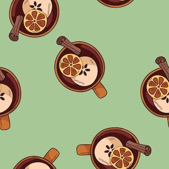 シナモンと柑橘類のかわいい漫画のパターンとカップでおいしいホットワインを飲む