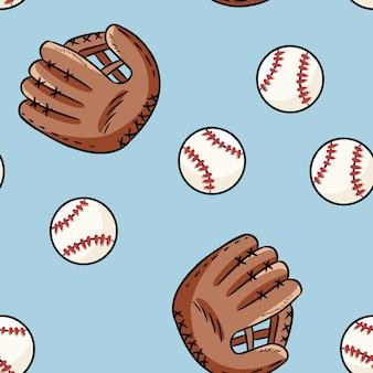 野球のシームレスなパターン。かわいい落書き手描きボールと手袋