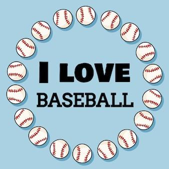 Я люблю бейсбольный спортивный баннер в венке из бейсбольных мячей. бейсбольный дорнар и типография