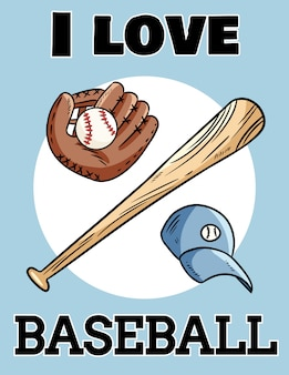 Я люблю бейсбольную симпатичную открытку бейсбольной битой, перчаткой и мячом, иконка спорт логотип