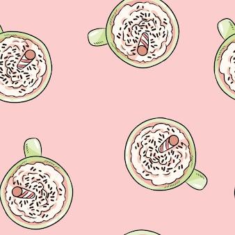 ホイップクリームのかわいい漫画のシームレスなパターンとおいしいコーヒーを飲みます。