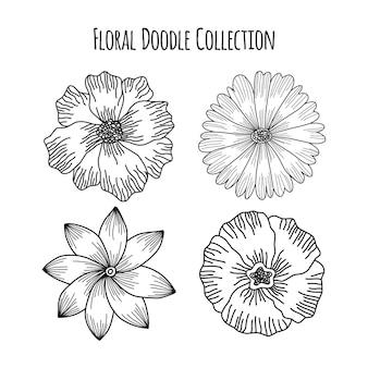 Цветочный цветок каракули эскиз свадебная рамка орнамент шаблон коллекции