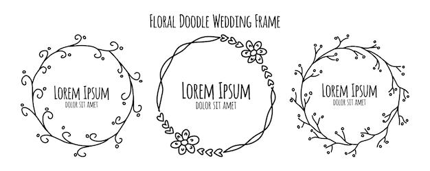 Изолированный круг рисованной каракули флора