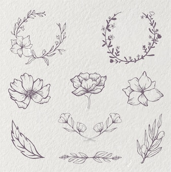 Цветочный венок цветочный круг каракули эскиз свадебная рамка орнамент