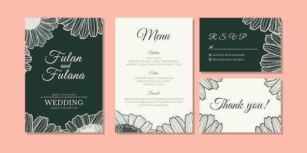 手描き落書き花デイジーの花のアウトラインモノクロスタイルヴィンテージレトロな伝統的な結婚式の招待カードを設定します