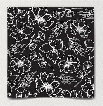 モノクロのシームレスな花と抽象的な花飾り装飾パターン