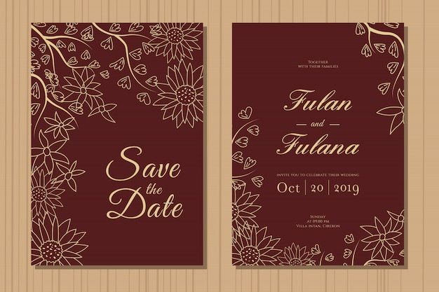 抽象的な手描き落書き植物の花輪花の背景テンプレートと結婚式の招待カードを設定します