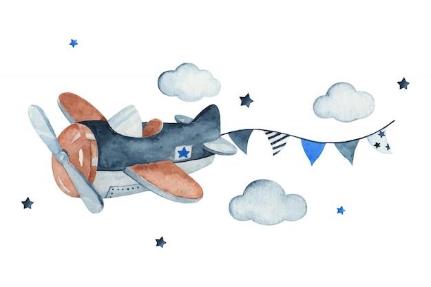 飛行機、花輪、雲、星、水彩の手描きイラストの愛らしい空のシーン。