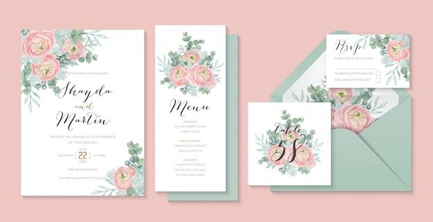 美しいラナンキュラスの花、ユーカリ、ほこりっぽいミラーのパステル調の結婚式の招待状のテンプレート