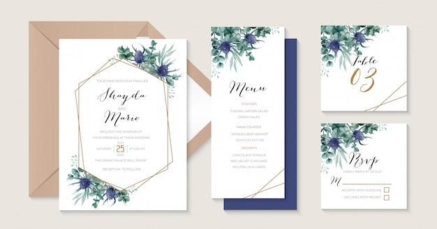 Шаблон приглашения на свадьбу чертополох с геометрической золотой рамкой идеально подходит для деревенской свадебной темы